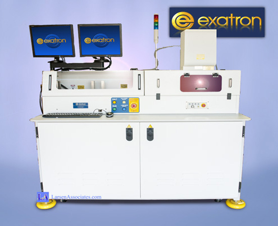 Exatron laser marker handler with stackers tray feed with Rofin Laser