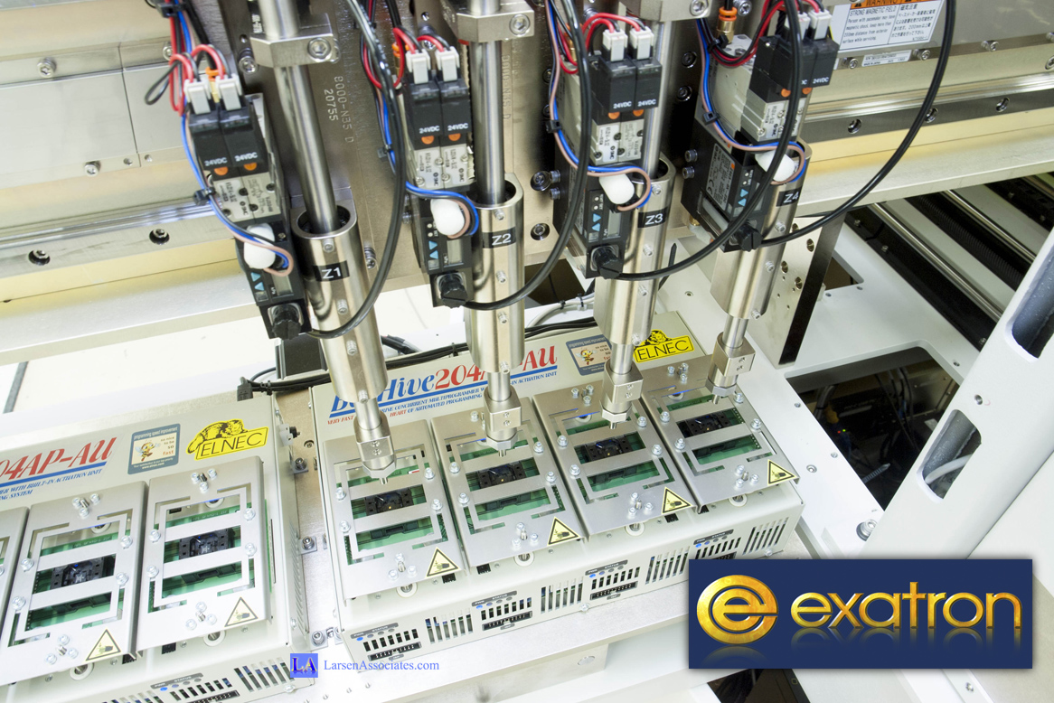 Inside view Exatron IO Programmer E8000-3D Data PSV7000 test handler Elnec Dataman trays stackers high speed high capacity kitless kit-less Elnec Dataman Data I/O Larsen Associates