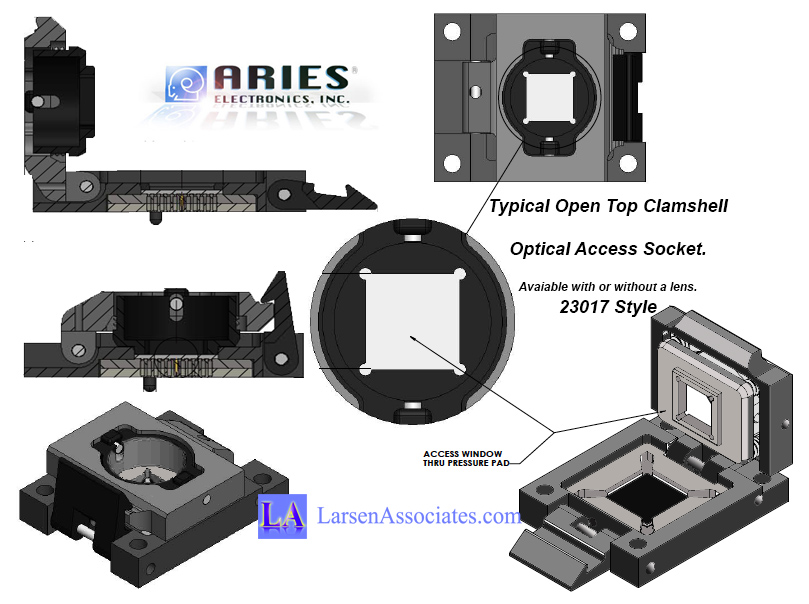 Aries clamshell optical access test socket with or without a lens