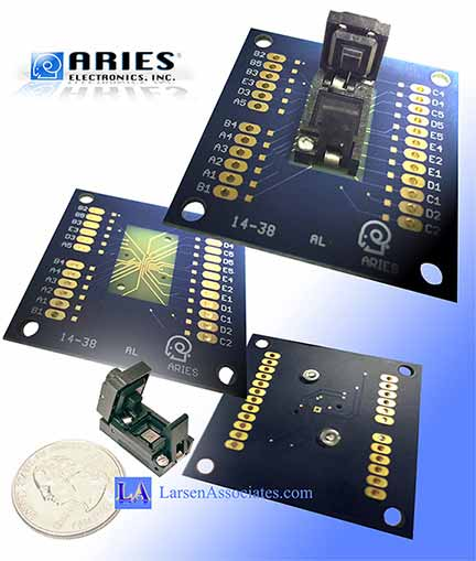 custom test fixture breakout board with IC test socket Aries Larsen