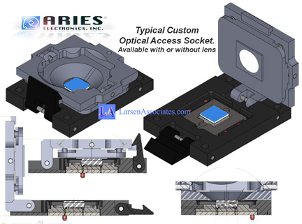 Optical test sockets, open top device access sockets, field of view FOV lens, no lens