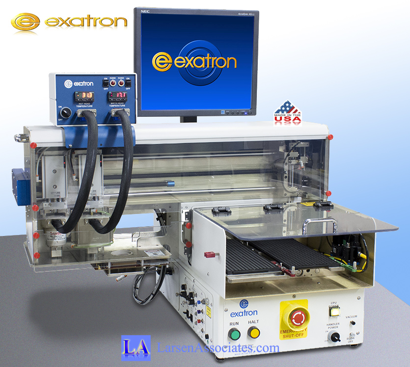 Exatron Mini Desktop Tabletop IC Handler for Lab use with dual thermal head, dual trays, table top ATE.